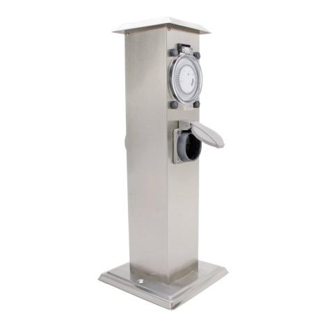 IBV 400166-012 - Vonkajší zásuvkový stĺpik s časovačom 2Z IP44 strieborná