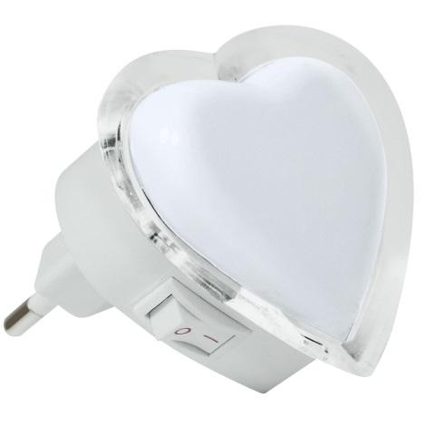 LED Detská lampa LED/0,4W/230V biele srdce