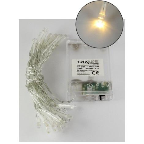 LED Vianočná reťaz 2,4 m 20xLED/3xAA 2700 K