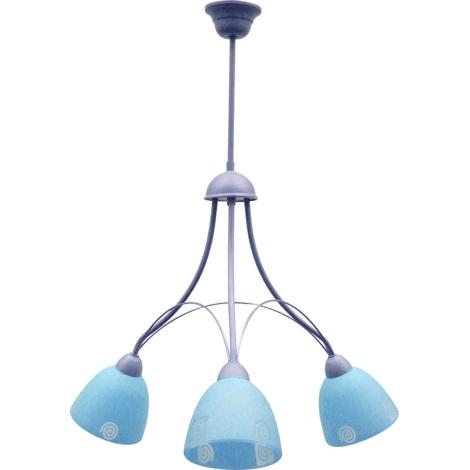 Luster ALBIN 3xE27/60W strieborná / modré sklo