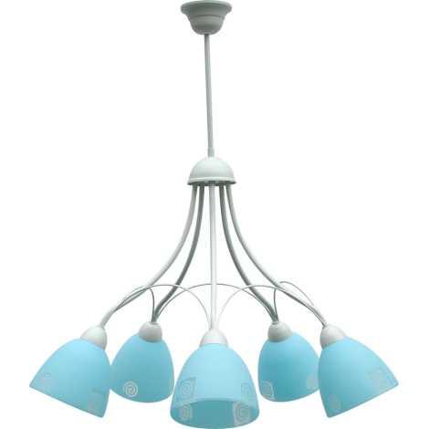 Luster ALBIN 5xE27/60W strieborná / modré sklo