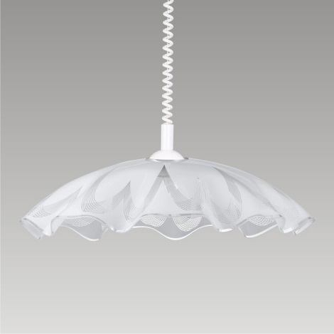 Luster sťahovací LYRA GLASS 1xE27/60W biela