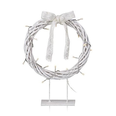 Markslöjd 703107 - Vianočná dekorácia KILSTORP LED/1,2W/3xAA veniec 35 cm biely