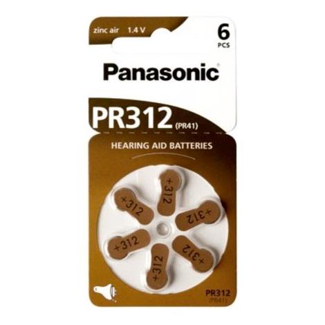 Panasonic - 6 ks Batérie do naslúchadiel PR-312 1,4V