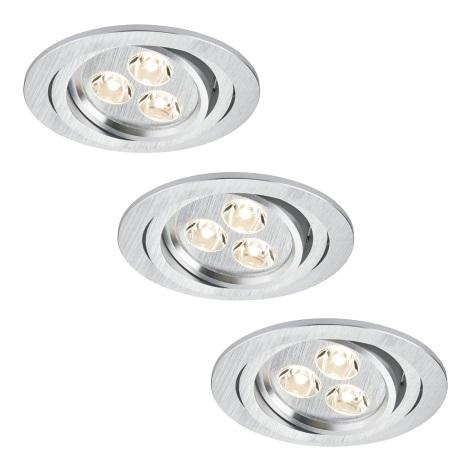 Paulmann 92530 - SET 3x LED Podhľadové svietidlo PREMIUM LINE 3xLED/3W/230V