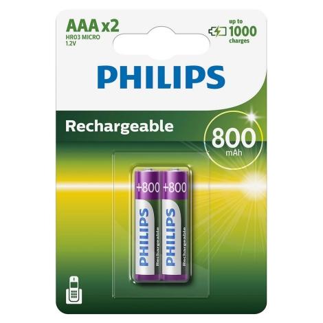 Philips R03B2A80/10 - 2 ks Nabíjacia batéria AAA MULTILIFE NiMH/1,2V/800 mAh