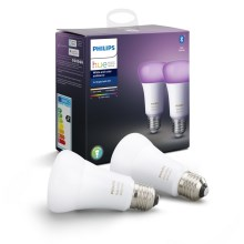 SADA 2x LED Stmievateľná žiarovka Philips HUE WHITE AND COLOR AMBIANCE E27/9W/230V