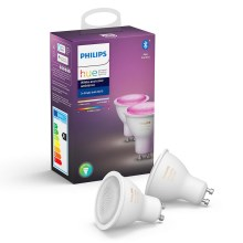 SADA 2x LED Stmievateľná žiarovka Philips HUE WHITE AND COLOR AMBIANCE GU10/5,7W/230V