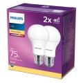 SADA 2x LED Žiarovka Philips A60 E27/11W/230V 2700K