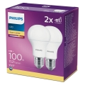 SADA 2x LED Žiarovka Philips A60 E27/13W/230V 2700K