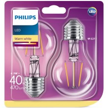 SADA 2x LED Žiarovka Philips E27/4,3W/230V