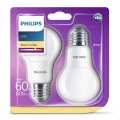 SADA 2x LED žiarovka Philips E27/8W/230V
