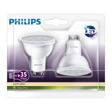 SADA 2x LED žiarovka Philips GU10/3,5W/230V