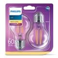 SADA 2x LED žiarovka VINTAGE Philips E27/7W/230V 2700K