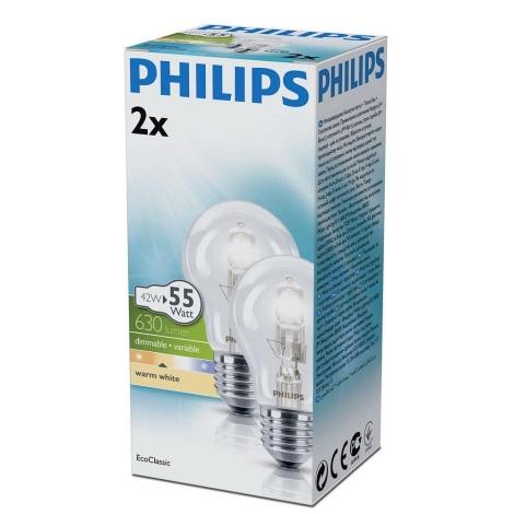 SADA 2x Stmievateľná halogénová žiarovka E27/42W/230V - Philips