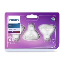 SADA 3x LED Žiarovka GU5,3/MR16/8,2W/12V 4000K - Philips