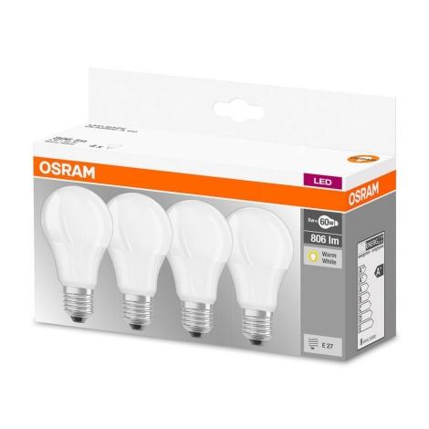 SADA 4x LED Žiarovka A60 E27/9W/230V 2700K - Osram