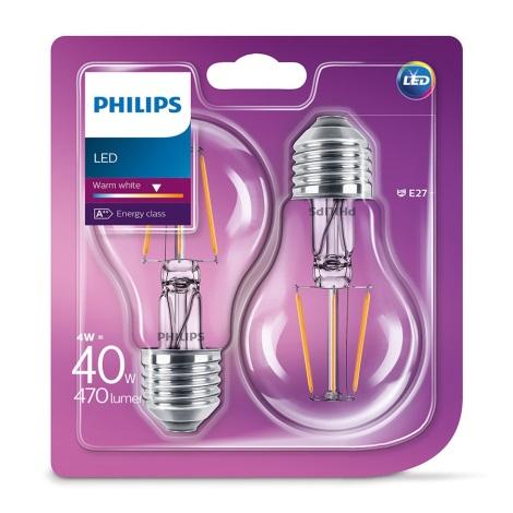 SET 2x LED Žiarovka VINTAGE Philips E27/4W/230V 2700K