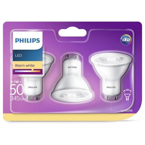 SET 3x 3x LED Žiarovka Philips GU10/4,7W/230V