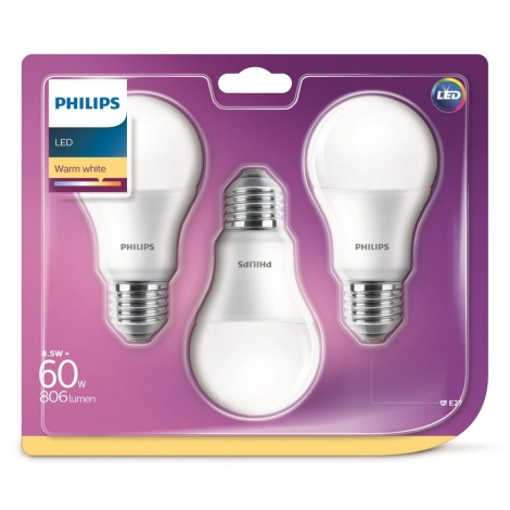 SET 3x LED Žiarovka Philips A60 E27/5,5W/230V