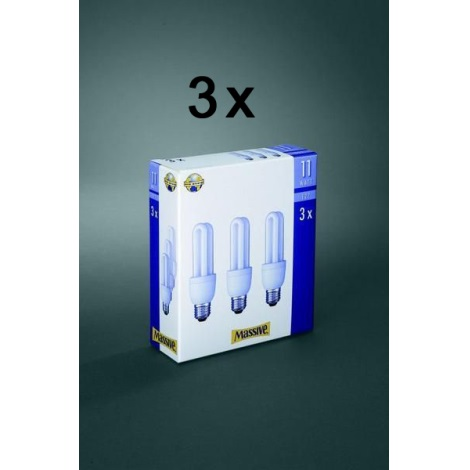 Úsporná žiarovka E27/11W sada 3 žiaroviek